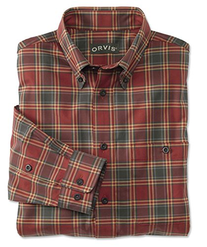 Orvis Signature Twill Long-Sleeved Shirt/Regular, Amber Plaid, Large -