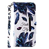 for Samsung Galaxy S10 Plus Wallet Case with Card Holder and Screen Protector,QFFUN Elegant Pattern Design [Peacock Feather] Magnetic Stand Leather Phone Cases Etui Bumper Flip Cover with Lanyard