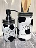 Cheap Black And White Cow Print Painted Mason Jar Gift Set With Stainless Steel Soap Pump Lid