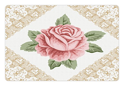 (Lunarable Floral Pet Mat for Food and Water, Lace Ornate Vintage Rose Petal Floret Shabby Chic Pattern, Rectangle Non-Slip Rubber Mat for Dogs and Cats, Light Pink Reseda Green Sand Brown)