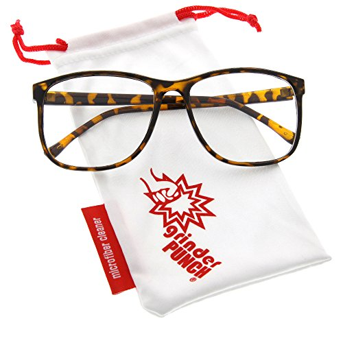 grinderPUNCH Tortoise Large Nerdy Thin Plastic Frame Clear Lens Eye - Plastic Frames Cleaning Glasses