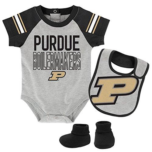 "OuterStuff NCAA Purdue Boilermakers Children Boys""Blitz"" Onesie, Bib & Bootie Set, 12 Months, Heather Grey"