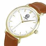 AIBI Men's AB50801-3 Gold Analog Quartz Brown Leather Strap Classy Dress Watch