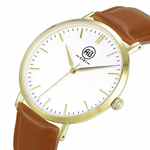AIBI Men's AB50801-3 Gold Analog Quartz Brown Leather Strap Classy Dress Watch by AIBI