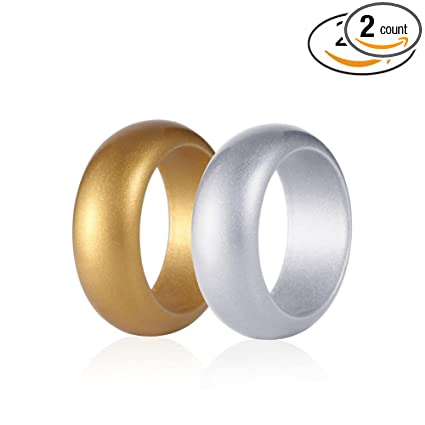Amazon Com Simpleonly Silicone Wedding Ring Gold Silver Metallic