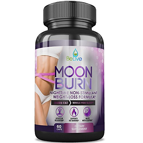 MoonBurn Burn Fat While You Sleep Weight Loss Pills for Women and Men. Sleep Aid Supplement, Stimulant-Free, Belly Fat Burner, Carb Blocker with Garcinia Cambogia, Green Tea & CLA