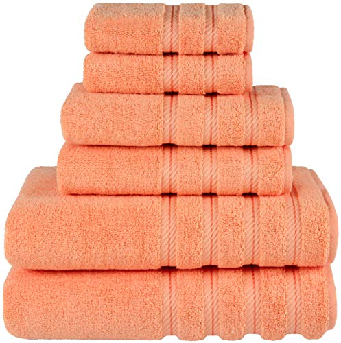 American Soft Linen 6-Piece 100% Organic Turkish Cotton Premium & Luxury Towel Set for Bathroom & Kitchen, 2 Bath Towels, 2 Hand Towels & 2 Washcloths [Worth $72.95] - Malibu Peach (Turkish Towels Beach Monogrammed)