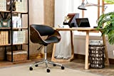 Premium Home Office Chair Modern Designer Executive Office Chairs with Thick Padding for Optimum Comfort, Height Adjustable Easy Clean Walnut Veneer/PU Leather 21x23x33 inches