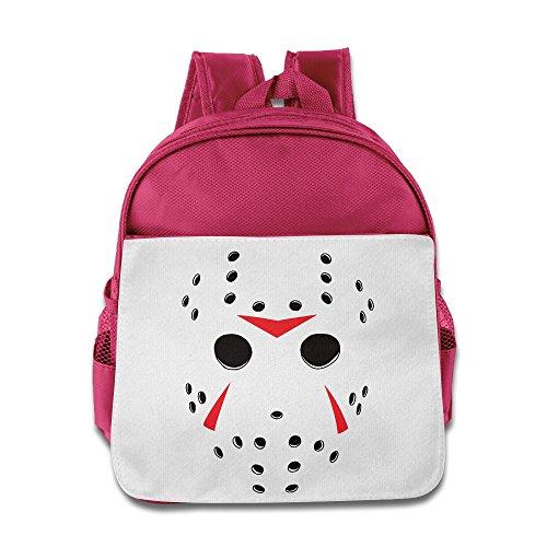 Halloween Jason Mask Kids Backpack School Bag For Boys/girls Pink