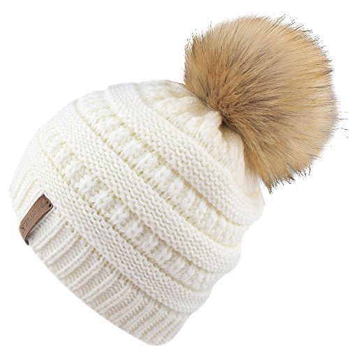 oys Winter Knit Beanie Hats Faux Fur Pom Pom Hat Bobble Ski Cap Toddler Baby Hats 1-6 Years Old White ()