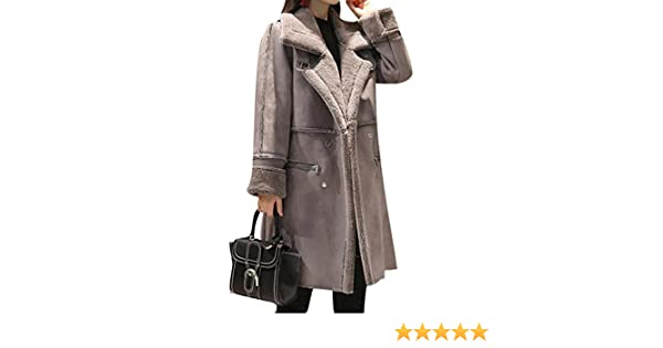82911dc22 ARTFFEL-Women Winter Mid Leather Faux Suede Lamb Wool Coat Shearling Jacket