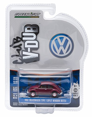 1951 Volkswagen Beetle (1951 VOLKSWAGEN TYPE 1 SPLIT WINDOW BEETLE (Bordeaux Red) * Club V-Dub * Series 2 Greenlight Collectibles 2015 Limited Edition Vee-Dub 1:64 Scale Die-Cast Vehicle)