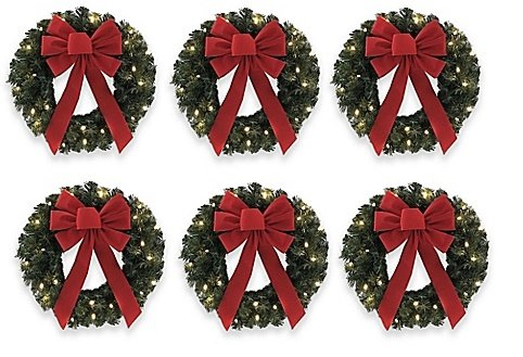18-Inch Pre-Lit Wreaths (Set of 6) brighten Your Décor With Classic Holiday Flair
