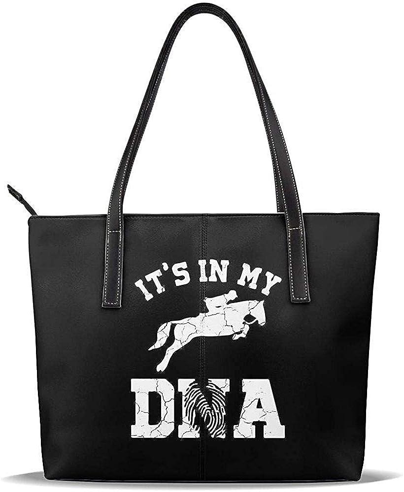 Not applicable Bolso de hombro grande con asas de cuero casual para mujer: está en mi bolsa de asa para montar a caballo para amantes del caballo para el trabajo y el viaje