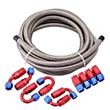 EVIL ENERGY 16Ft 8AN AN8 Stainless Steel Braided CPE 1/2'' Fuel Oil Hose Line + 10pcs AN8 Hose Fitting Kit Silver