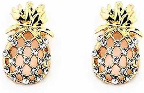 60e802bb9 Super Cute Hypoallergenic Rhinestone 18k Gold Plated Pineapple Stud Earrings