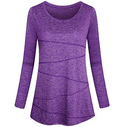 Sunhusing Women's Long Sleeve Solid Color Top T-Shirt Yoga Tops Round Neck Loose Fitting Athletic Shirt]()
