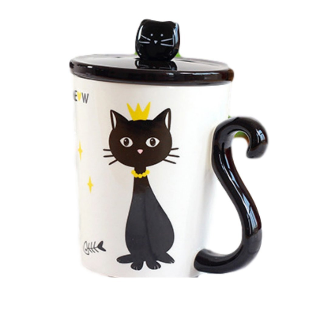 Cat Lover's Tail Handle Coffee Mug with Cover and Stainless Steel Cat Head Teaspoon (Cat with Crown)