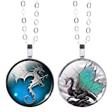 Jiayiqi Women Men Magic Large Dragon Star Crescent Time Gem Dangle Pendant Silvery Chain Necklace