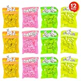 ArtCreativity Domino Game Set (Pack of 12) | Each Domino Set Includes 28 Pieces Per Neon Pink, Yellow, Green and Orange Bags | Great School - Carnival Prizes | Awesome Party Favor - Fun Game for Kids
