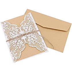 DriewWedding 20PCs Laec Wedding Party Invitation Cards, Hollow Greeting Invites Cards with Kraft Paper Inner Sheet, Envelopes & Hemp Rope Seals … (White)
