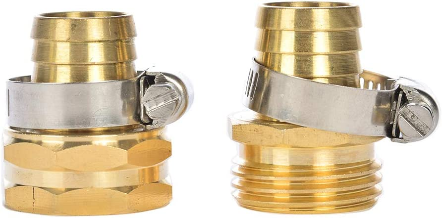 """REGNHLIF Brass Garden Hose Connector Repair Mender Kit with Stainless Clamp,Fits 3/4"""" Water Hose Fitting"""