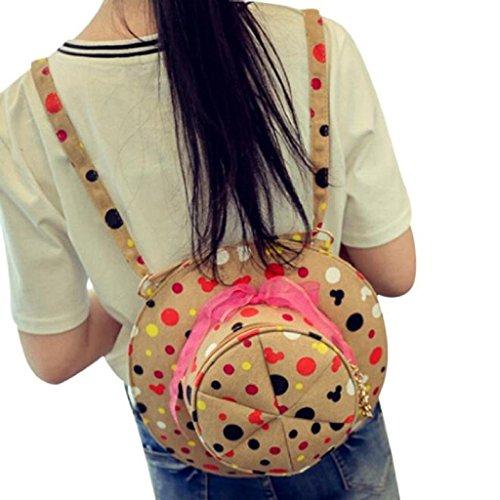 Signature Drawstring Handbag - Kikisale NEW Small Round Cute Hat Bag Zipper Shoulder Bag Multifunction Shoulder Diagonal Handbags (Beige)