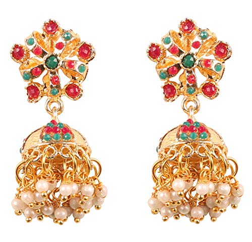 (NEW! Touchstone Indian Bollywood Desire Fine Engraved Metal Traditional Jadau Studded Look Faux Ruby Emerald Pearls Designer Jewelry Jhumki Earrings In Gold Tone For Women)