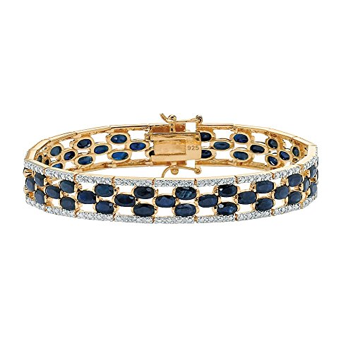 18K Yellow Gold over Sterling Silver Round Genuine Diamond and Oval Blue Sapphire Tennis Bracelet 7 inch