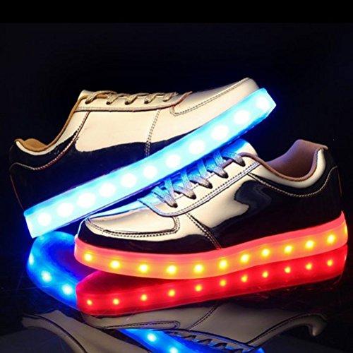 [Present:kleines Handtuch]JUNGLEST JUNGLEST(TM) 7 Farbe USB Aufladen LED Leuchtend Sport Schuhe Sportschuhe Sneaker Turnschuhe für Unise Gold