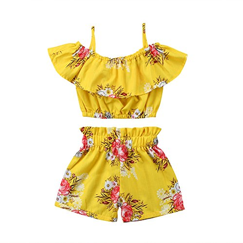 2PCS Toddler Baby Gril Kids Floral Tops with Strap + Floral Short Pants Outfits Sets Ruffle Off The Shoulder Clothes (3-4Years) ()
