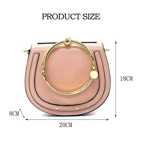 Women Circular Purse Handbags Small Girls Yoome Handle Pink Crossbody Bags Round Ring Punk For dqXx6E