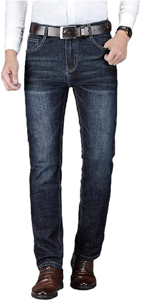 AngelSpace Men Regular-Fit Denim Pants Business Thermal Big and Tall Straight Jean