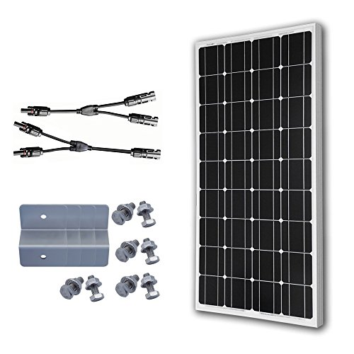 ECO-WORTHY 12 Volt 100 Watt Monocrystalline Solar Panel Bundle Kit with Y Branch Connector & Z Mounting Brackets