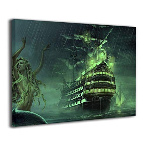 OANAklsd Storm Mermaid Pirate Life Ghost Ship Sailing Picture Canvas Prints Giclee Artwork Wall Decorations for Bathroom Hallway 20