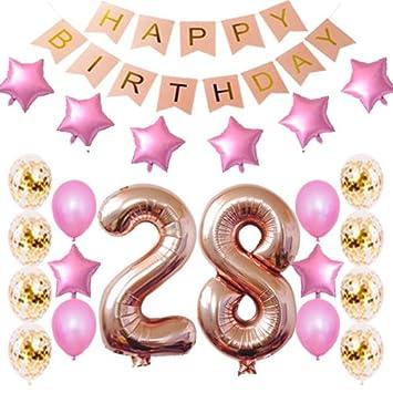 Amazon.com: Decoración de cumpleaños número 28 para fiestas ...