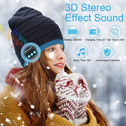 FY Cappello Bluetooth V5.0 Berretto Musicale e Scaldacollo per Uomo e Donna Lavorato a Maglia Beanie con Altoparlanti Stereo e Cuffie Wireless Inverno Caldo Cappello per Sport e Natale Regalo
