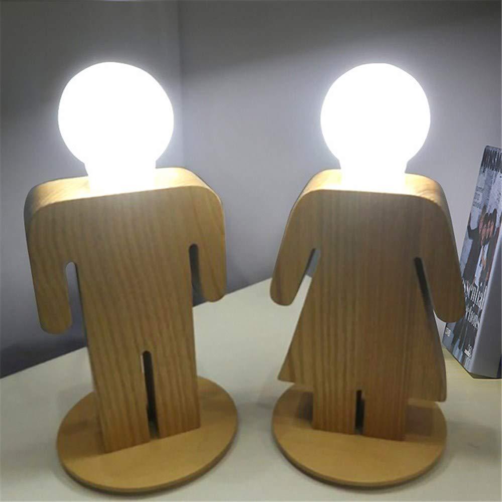 Moderne Holz Jungen und Mädchen Tischlampen E27 Nacht Wohnzimmer Dekorieren Schlafzimmer lösen Beleuchtung Geschenke Lampen Mit EINEM, Jungen