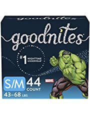 Boys Bedwetting Disposable Night Time Underwear, Overnight Training Pants, Goodnites, S/M, 44 Ct