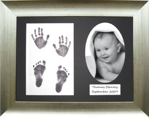 BabyRice 11.5 x 8.5-inch Baby Hand/ Footprint Inkless Wipe Kit with Antique Silver Effect Display Frame (Black Mount) by Anika-Baby by Anika-Baby