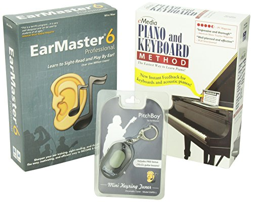(eMedia Piano and Keyboard Method, EarMaster 6 Pro, Pitchboy Chromatic Keychain Tuner (bundle))