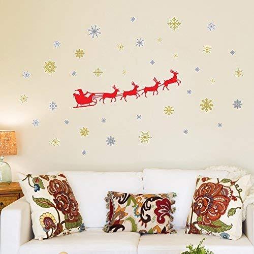Wallflexi Decorazioni di Natale Adesivi da Parete Adesivi murali Slitta di Babbo Natale, per Salotto Bambini Scuola Materna Ristorante Hotel casa WS3323