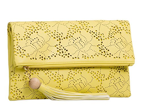 Pattern Clutch Flap Yellow Shoulder Faux Bag Chain Laser Cut Strap Leather Folded New 1wUCqH1