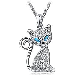 Qianse *Kitty Molly* Crystals Cat Pendant Necklace, Elegant and eye-catching Women Fashion Jewelry