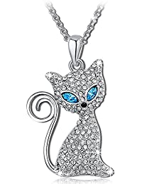 QIANSE Kitty Molly Crystals Cat Pendant Necklace