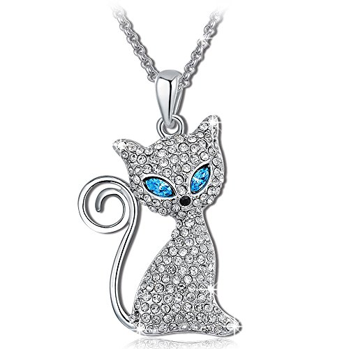 QIANSE Kitty Cat Pendant Necklace with Clear Blue Crystals Animal Jewelry for Women Girls Birthday Gifts for Women Gifts for Daughter Granddaughter Sister Best Friend
