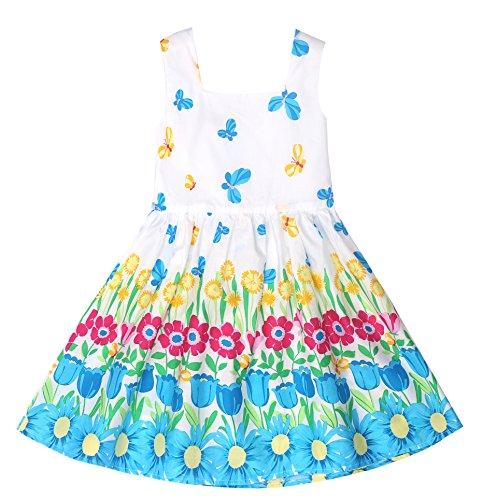 Sugar Pocket Girl's Dress Sleeveless Flower Printed Cotton Sundress Blue Butterfly -