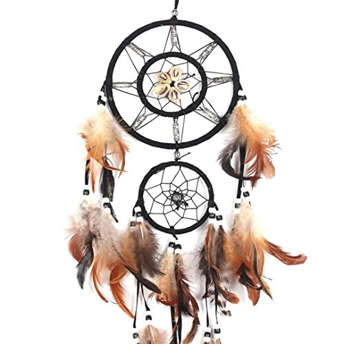 RIUDA Fashion Dream Catcher Wall Hanging with Beads, Feathers Art Weaving & Native People History Poem