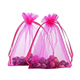 Fengirl Drawstring Organza Jewelry Pouches Wedding Party Christmas Favor Gift Candy Bag (5x7inch, Hot Pink)