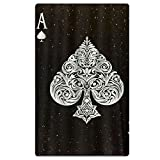 FSKDOM Beach Towel Large Blanket With Tassels Ultral Ace Of Spades Poker Card Style Soft Super Water Absorbent Multi-Purpose Beach Towel